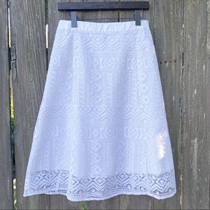 Madewell Geo Lace Midi Skirt White Size 2